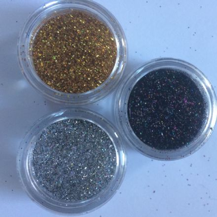3 x 5g  FINE COSMETIC HOLOGRAPHIC GLITTERS - SILVER/GOLD/BLACK